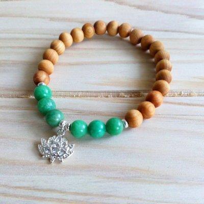 Bracelet bois de cèdre et amazonite