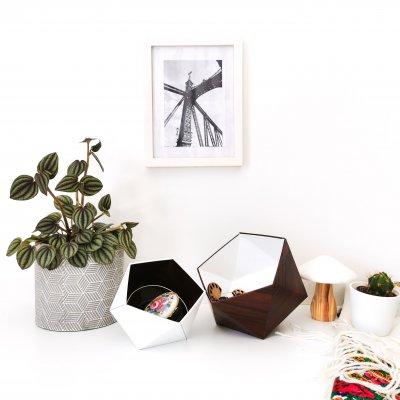 Boîtes origami bois acajou et blanc - vide poches - boîte à bijoux - décoration d'intérieur