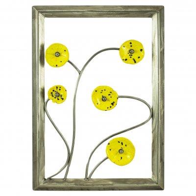 Cadre inox fleurs céramique jaunes