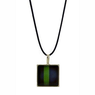 Collier pendentif mosaïque bleu et vert