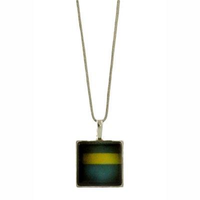 Collier pendentif grés bleu et vert