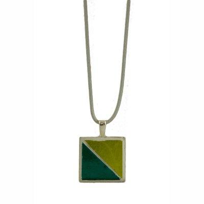 Collier pendentif bleu et vert