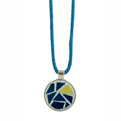 Collier pendentif mosaïque bleu