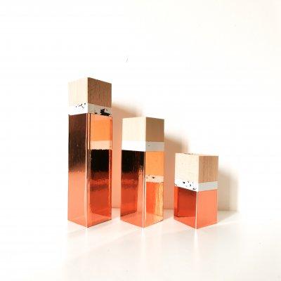 Set de trois bougeoirs en bois CUIVRE et MARBRE - art de la table - lumière d'ambiance - décoration d'intérieur