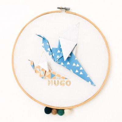 Tambour OISEAUX bleu et beige - Leewalia - décoration chambre bébé enfant - décoration murale - prénom à personnaliser - naissance - origami