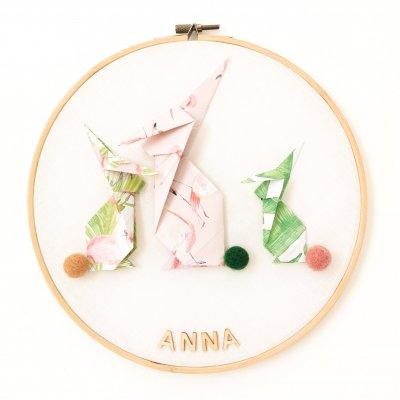 Tambour LAPINS rose et vert - déco murale chambre enfant - naissance - origami