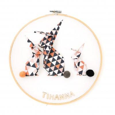 Tambour LAPINS marron et beige - déco murale chambre enfant - naissance - origami