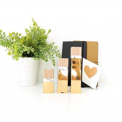 Set de trois bougeoirs en bois OR et MARBRE - art de la table - lumière d'ambiance - décoration d'intérieur