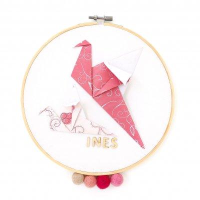 Tambour OISEAUX framboise et rose - Leewalia - décoration chambre bébé enfant - déco murale - prénom à personnaliser - naissance - origami