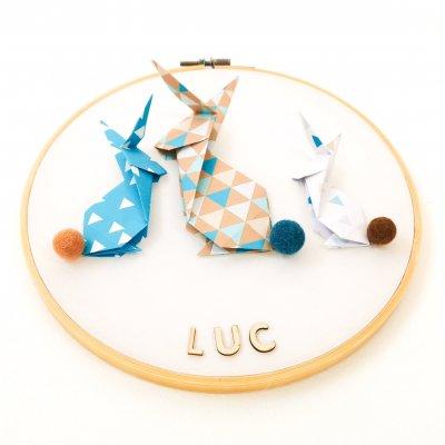 Tambour LAPINS bleu et beige - déco murale chambre enfant - naissance - origami