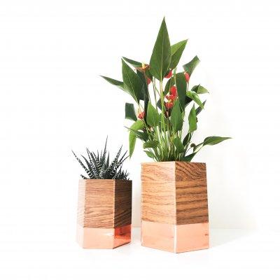 set de deux cache pots GEO chêne et cuivre - pot de fleurs - décoration d'intérieur